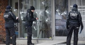 Outside the Copenhagen cafe attacked