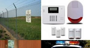 Physical security illustration. fence, alarm system, door lock, police car.