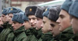 Line of Russian conscripts