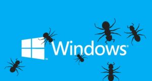 Windows logo with bugs on top