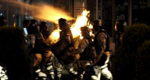 Protesters clash with police in Macedonia