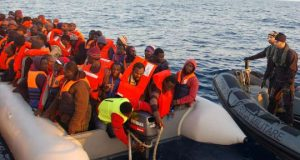 Migrants stopped by Italian Navy