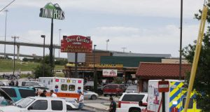 Crime scene in Waco, Texas adter bikers shootout
