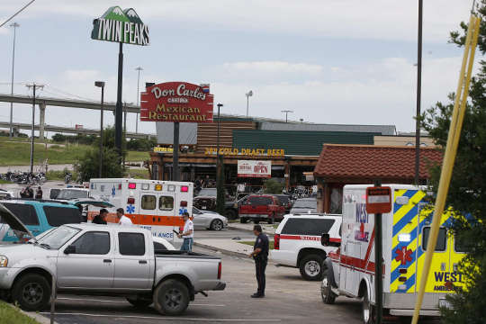 Crime scene in Waco, Texas adter bikers shootout