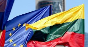 Lithuania European Union Flags