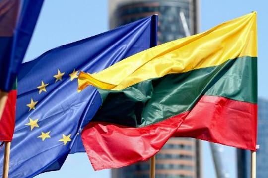 Lithuania European Union Flags