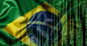 Brazilian flag with matrix like pattern