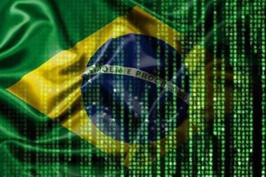 Brazilian flag with matrix like pattern
