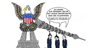 Wikileaks cartoon about the NSA spying on the French