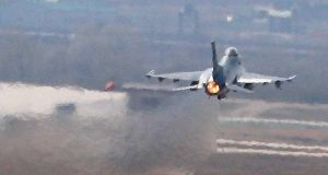 F-16 fighter jet takes off