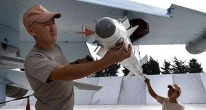 Russian Air Force Staff Inspecting Jet Fighter in Syria