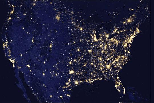 U.S. Cities lights by night