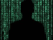 Hacker Silhouette - Matrix like binary background