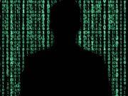 Hacker Silhouette - Matrix like binary background